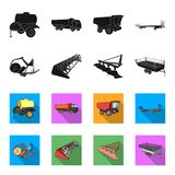 Plow, combine thresher, trailer and other agricultural devices. Agricultural machinery set collection icons in black. Flet style vector symbol stock royalty free illustration