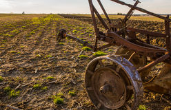 Plow in field Stock Photo