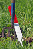 Plow plough stake garden fork Royalty Free Stock Image