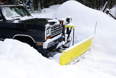 Plow in the Snow. A plow on a truck in the winter snow royalty free stock images