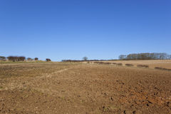 Plow soil and blue sky Stock Images