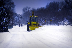Plow Truck Clearing Snow. Stock Photography