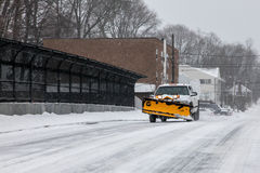 Plow trucks on street after storm 2015 Royalty Free Stock Photos
