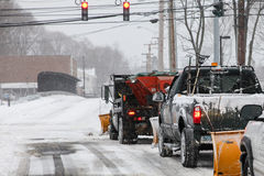Plow trucks on street after storm 2015 Stock Photo