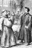 The plowboy shall know more ... Line drawing of William Tyndale (right) making his famous statement to a fat friar that the plowboy will soon know more of the
