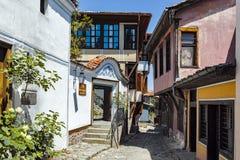 PLOWDIW, BULGARIEN - 10. JUNI 2017: Haus vom Zeitraum der bulgarischen Wiederbelebung in der alten Stadt von Plowdiw Lizenzfreie Stockbilder