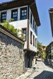 PLOWDIW, BULGARIEN - 10. JUNI 2017: Haus vom Zeitraum der bulgarischen Wiederbelebung in der alten Stadt von Plowdiw Stockfoto