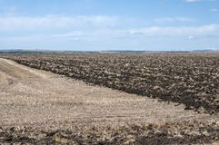 Plowed agricultural field. Plowed part of agricultural field in countryside landscape Stock Image