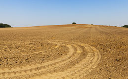 Plowed agricultural field. Photographed close-up of plowed agricultural field for planting a new crop Stock Image
