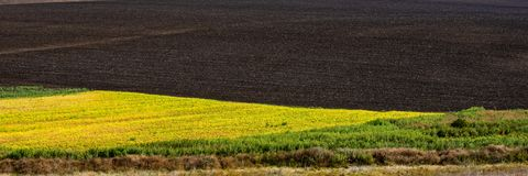 Plowed agricultural field and raw field. Web banner stock photos