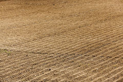 Plowed agricultural land. Plowed and ready for sowing agricultural fields. close-up Royalty Free Stock Photography