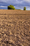 Plowed autumn farm field landscape with clouds Stock Photo