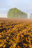 Plowed autumn farm field and morning mist Stock Images