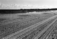 Plowed beach. In autumn the sea. Polish Baltic coast in Gdansk, Poland. Photo was taken by camera Mamiya Sekor DTL 1000, Fomapan profi line classic 100/36 Royalty Free Stock Image