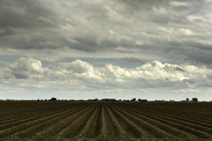Plowed Farm on a Cloudy Spring Day Royalty Free Stock Photography