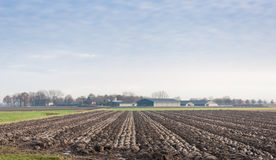 Plowed farmland in autumn Royalty Free Stock Image