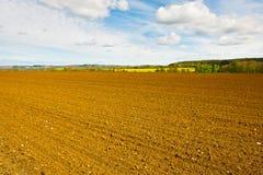 Plowed Field. Spring Plowed Field- Belgian Landscape Royalty Free Stock Photo