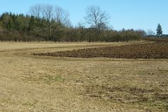 Plowed field in the autumn Stock Photo