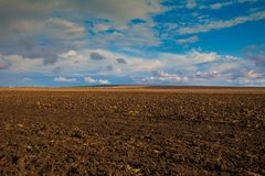 Arable field with cloudy sky. Plowed field in autumn after harvesting Stock Images
