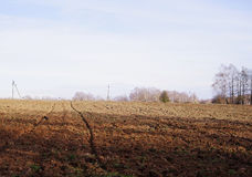 Plowed field in autumn Stock Photography