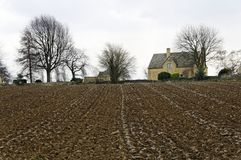 Plowed field in the Cotswold Stock Image