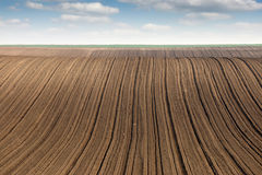 Plowed field  country landscape Royalty Free Stock Photo