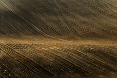 Plowed field in countryside in South Moravia Royalty Free Stock Photos