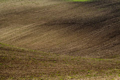 Plowed field in countryside Royalty Free Stock Images