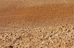 Plowed field with earth of Siena Royalty Free Stock Images