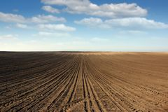 Plowed field farmland landscape Royalty Free Stock Photography