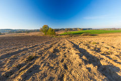Plowed field landscape Stock Photos