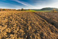 Plowed field landscape Royalty Free Stock Photography