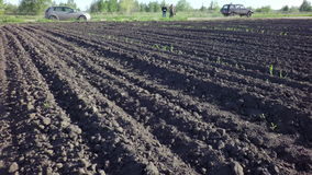 Plowed field ready for sowing stock footage