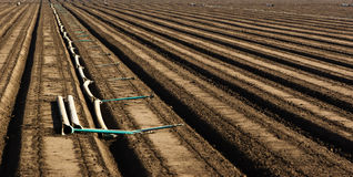 Plowed Field Rows Royalty Free Stock Photo