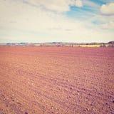 Plowed Field. Spring Plowed Field in Belgium, Instagram Effect Royalty Free Stock Photography