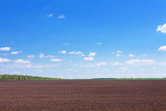 Plowed field in spring and clouds over it Royalty Free Stock Photography