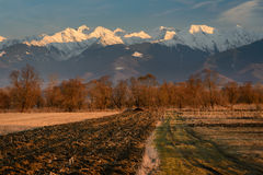 Plowed Field in Sunset Light. Plowed field in early spring with snowy mountains in background. Warm light landscape before sunset in rural area in Romania royalty free stock photography