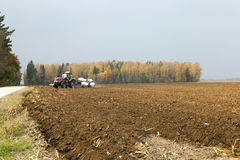 Plowed field  by a tractor Stock Photography