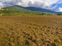 Plowed field in Tuscany, Italy Stock Image