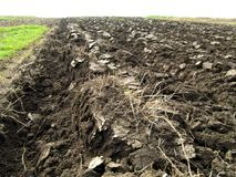 Plowed field with Ukrainian chernozem. Closeup. Royalty Free Stock Photos