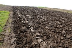 Plowed field with Ukrainian chernozem. Royalty Free Stock Images