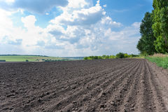 Plowed field under cloudy sky Stock Photo