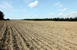 Plowed field in wide angle Royalty Free Stock Photos