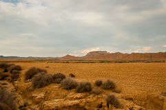 Plowed fields in the desert. Bardenas Reales, Navarra Stock Photos
