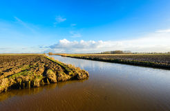 Plowed fields in a Dutch polder separated by a diagonal stream Royalty Free Stock Photo