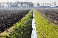 Plowed fields in the Netherlands Royalty Free Stock Photos