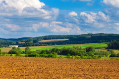 Plowed and green fields, cloudy sky Stock Images