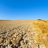 Plowed land in Italy. Plowed hills of Tuscany in the autumn. Plowed agricultural land in Italy Stock Photography
