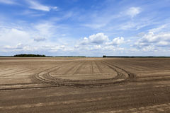 Plowed land. close-up. An agricultural field which has been plowed for planting crops. Spring. close-up Royalty Free Stock Photo