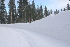 Plowed road. Snow packed at the side of the road after being plowed Royalty Free Stock Images